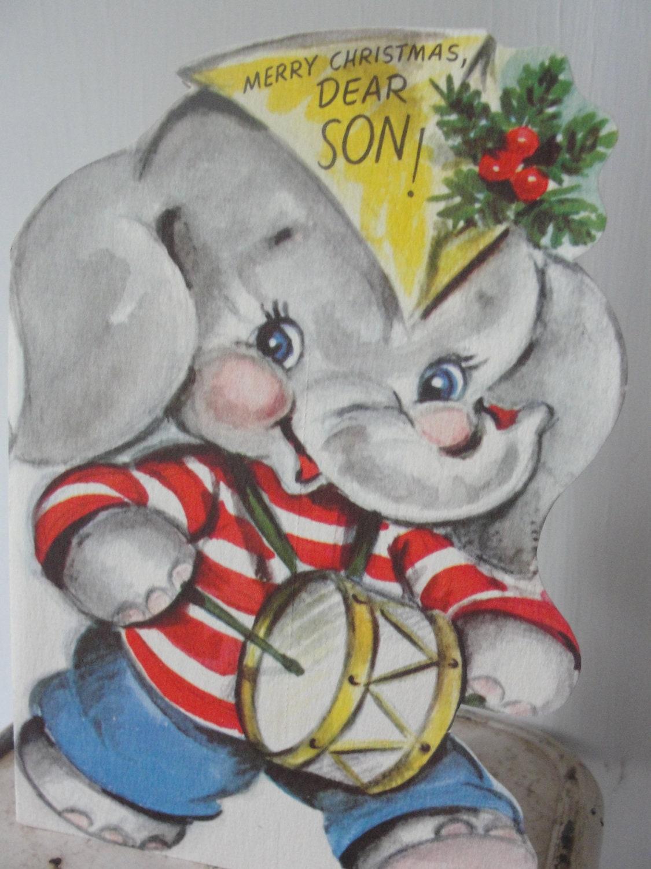 Elephant Rust Craft Vintage birthday card 1948 used - BarnshopAntiques