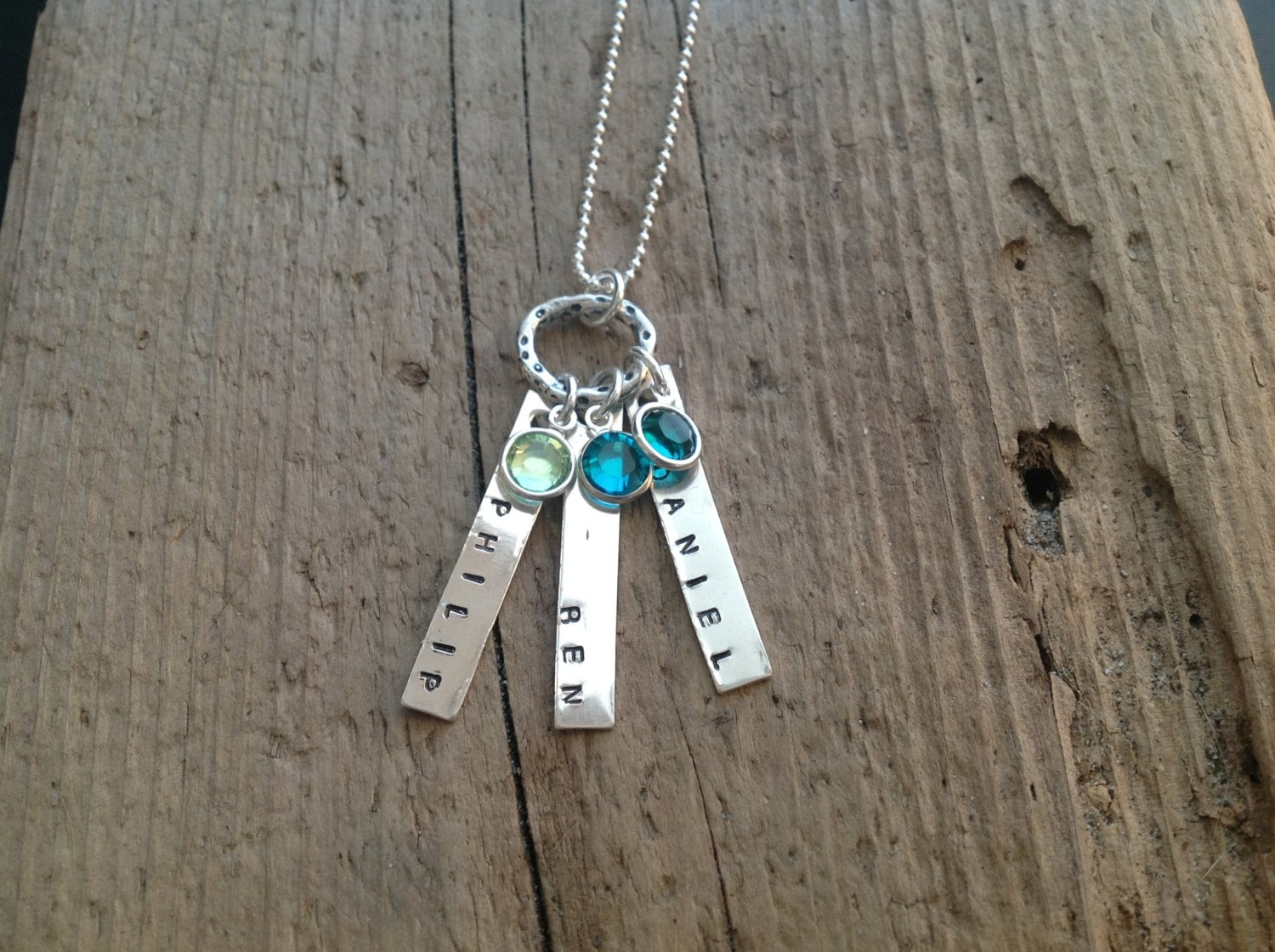 Personalized Jewelry Mom's Necklace Three Kids birthstone pendant Triplets