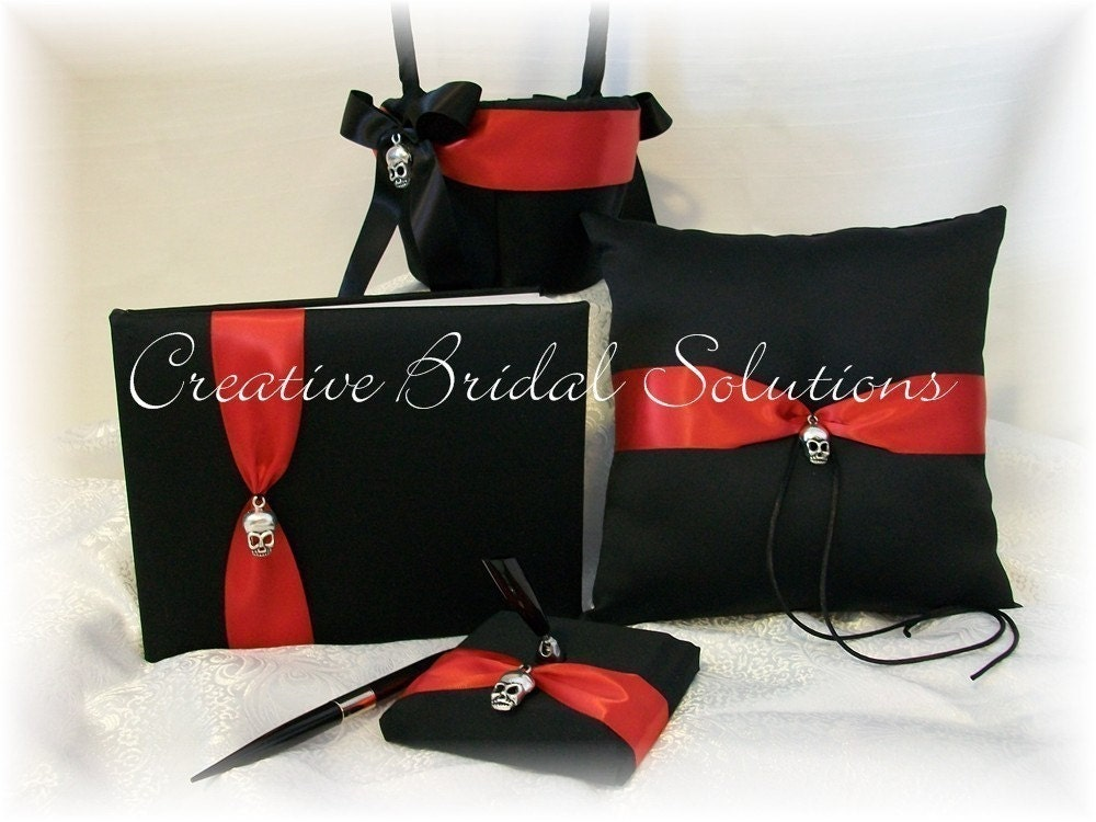 Black and Red Gothic Wedding Ring Pillow Flower Girl Basket Guest Book and