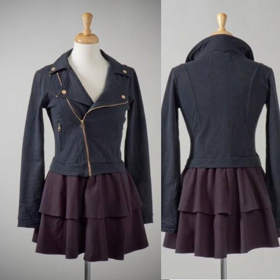 Womens clothing repurposed jersey biker black jacket dress S