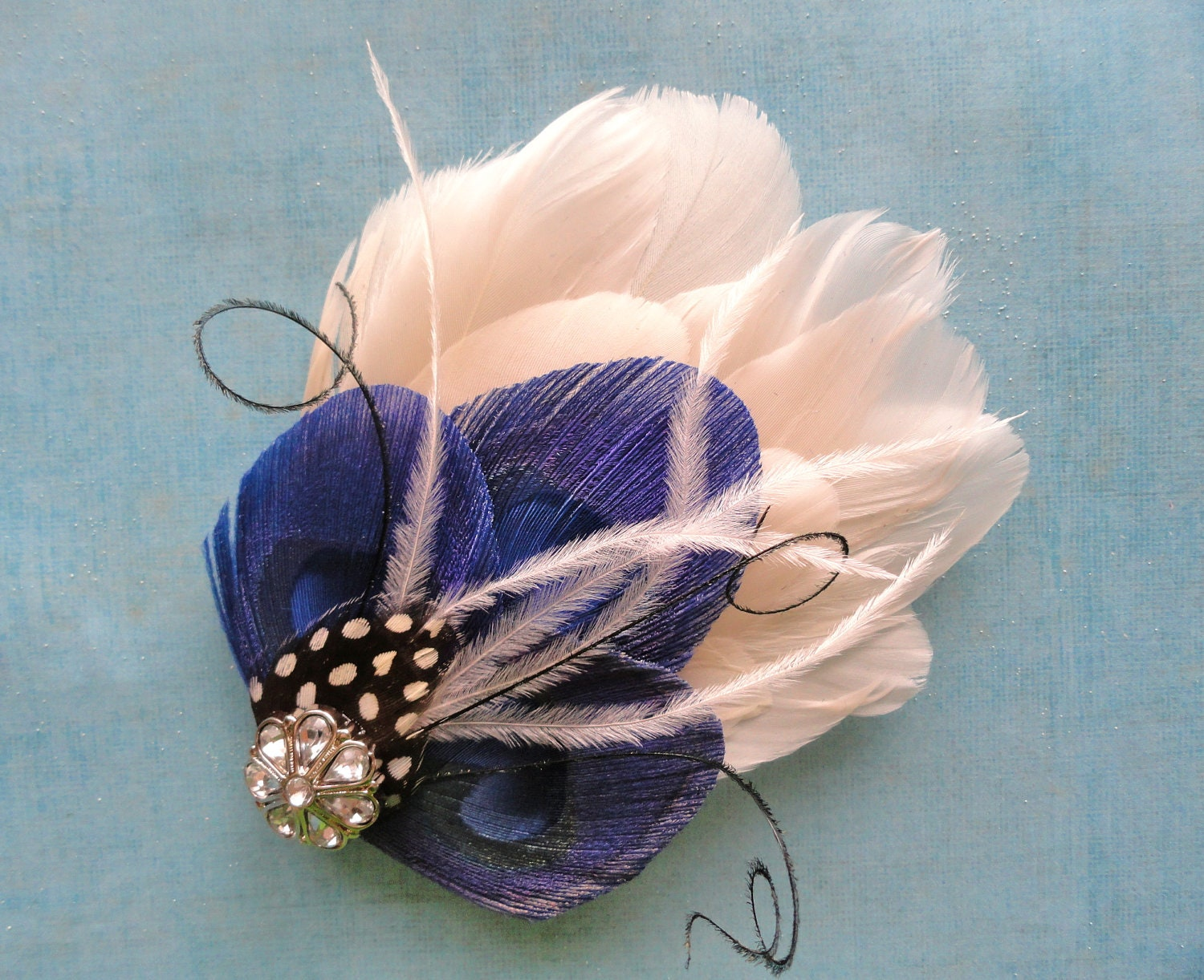 KAMBER Ivory and Royal Blue Peacock Feather Hair Clip, Feather Fascinator