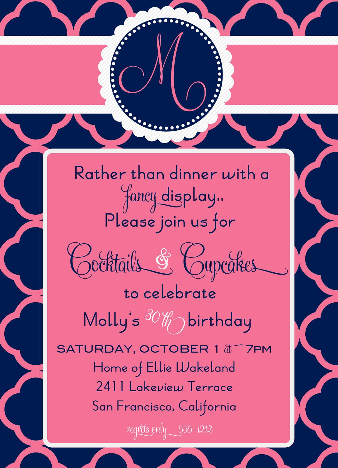 30th BIRTHDAY COCKTAILS and CUPCAKES Invitation, Custom Printable