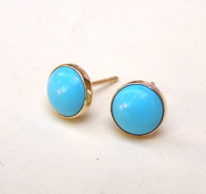 Turquoise Earrings Studs in Recycled 14k yellow Gold post earrings