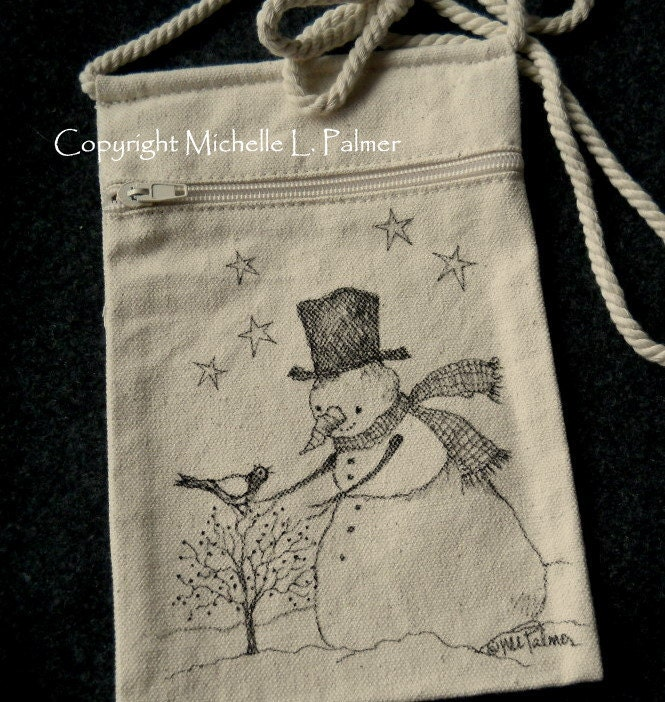 Snowman Winter Christmas Stars Sparrow Bird Original Art Illustration on Natural Canvas Bag Tote Purse