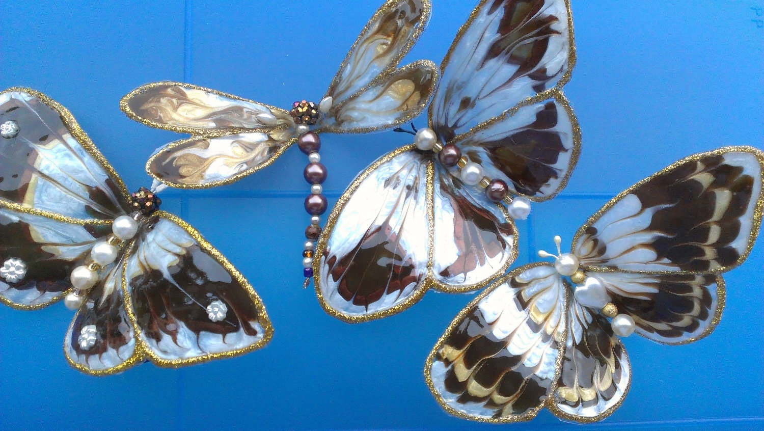 Brown and Pearl Butterflies Set of 4 ,hand painted