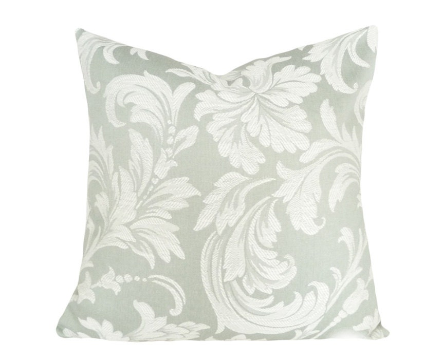 Damask  Decorative Throw Pillows, Green Cream Acanthus Leaves and Flowers, Contemporary, Sofa Cushion Covers, Winter Home Decor 18x18 - PillowThrowDecor