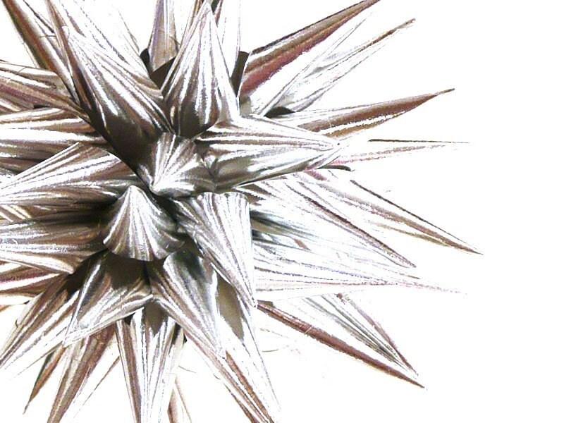 Silver Polish Star Ornament, Modern Paper Christmas Tree Decoration, Star Urchin, Kissa Design Handmade - 4 inch - Sterling Silver - kissadesign