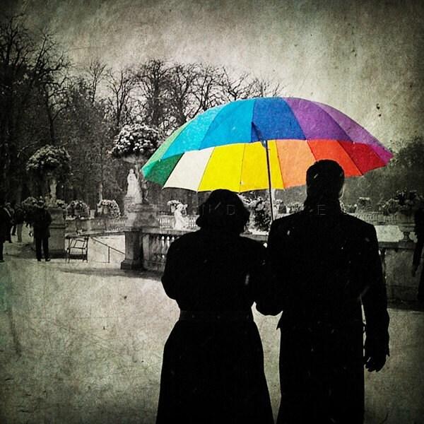 Black and white photography, Parisian decor, Art prints, Rain umbrella, Winter photos, Red Umbrella, Paris Photography, Print 8x8(20x20cm) - PhotographyDream