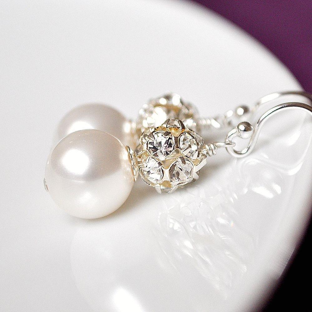 Rhinestone Bridal Earrings, Pearl Earrings, Art Deco Rhinestone Earrings, Bridal Jewelry