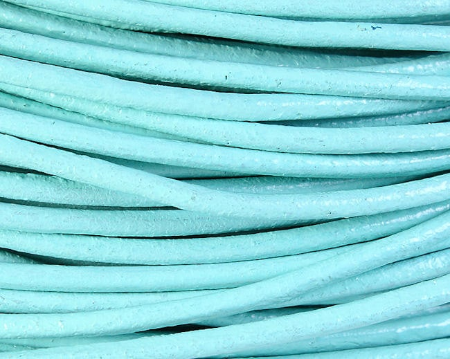 2mm Aquamarine blue green cowhide round leather cord 10 feet (622)