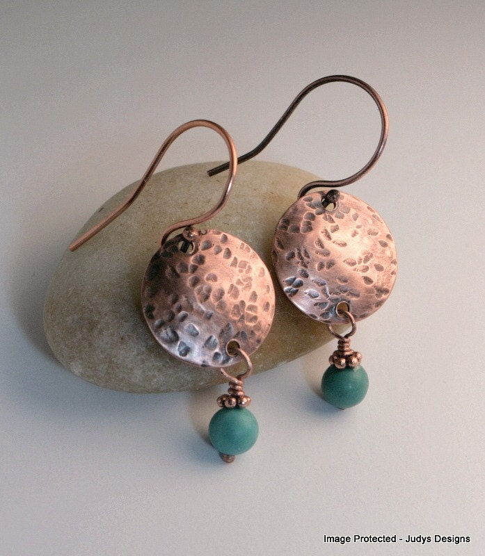 Small turquoise copper earrings, hammered jewelry - JudysDesigns