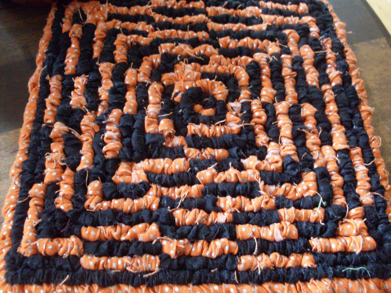 Festive Halloween Maze Fabric Pot Holder, Kitchen Trivet In Orange & Black