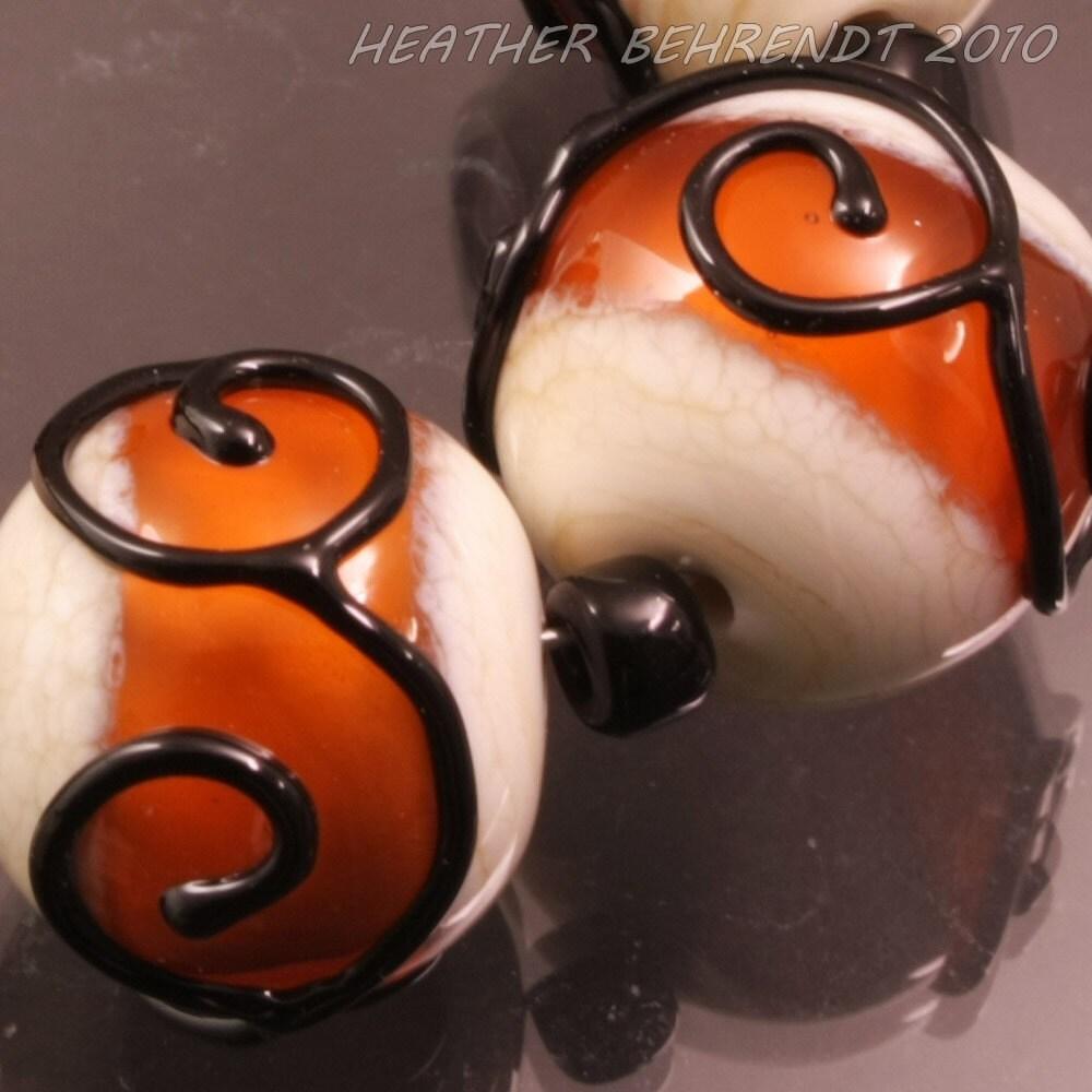 Handmade Lampwork Beads Black Scrolls Topaz Orange Ivory Cream Round Glass Bead Set Heather Behrendt (515) BHV SRA LETeam - HeatherBehrendtGlass