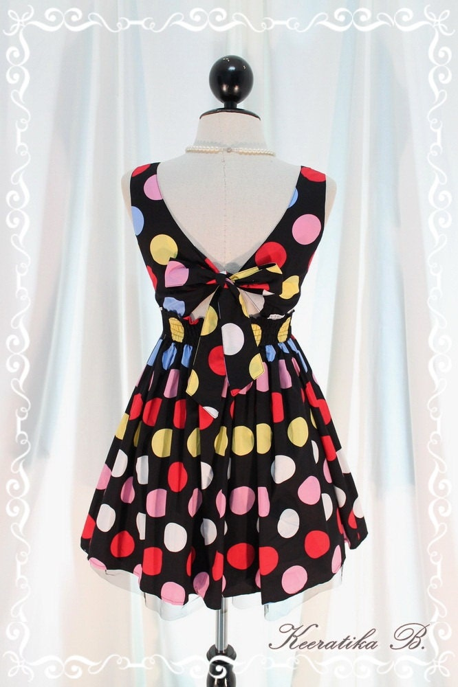 Lady Lolita - Adorable Mini Sundress Colorful Polka Dot Printed Petite Tie Bow Back Top Tutu Layer Petite Size Mini Party Dress