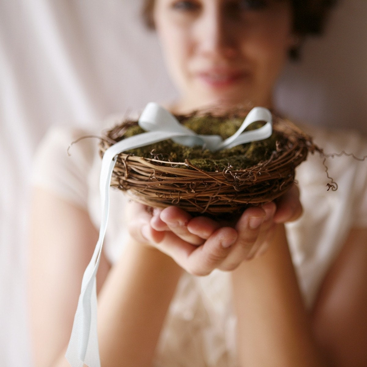 twig nest and moss ring bearer pillow, woodland wedding decor - LOVE NEST - whichgoose
