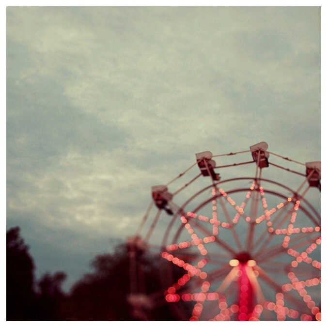 Fair Photograph - Ferris Wheel Photograph - Fine Art Photography - Summer - Fair - Lights - Original Art - Treetop View - AliciaBock