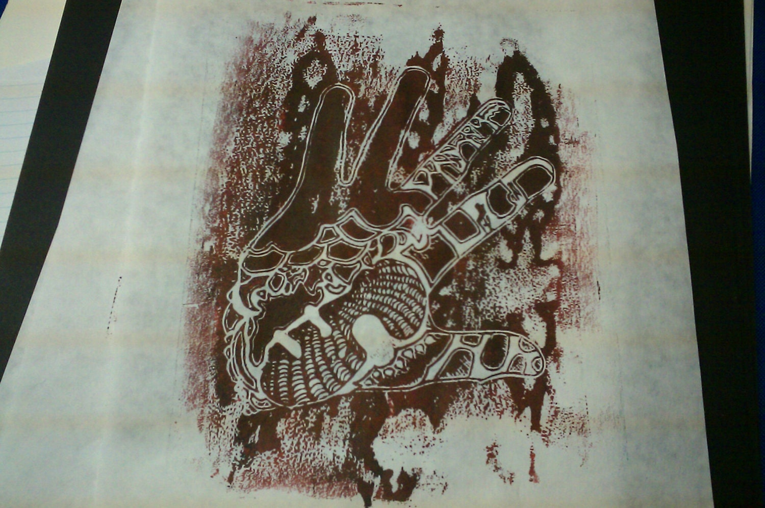 "Graffiti blood drip, Handmade linoleum print  ""Life is in Your Hands"""