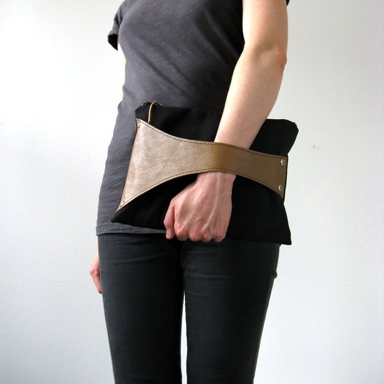 Leather Detail Bag in Black Fabric & Mustard Yellow Leather, Tablet Case, Eco Design, handmade from upcycled materials