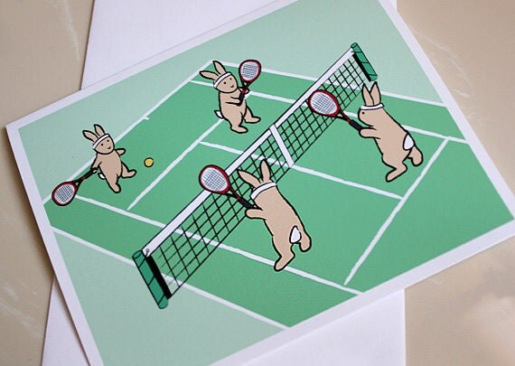 Bunny Rabbit Card - Tennis Cards - Blank Notecard Set (Set of 6) - GrizzlyBearGreetings