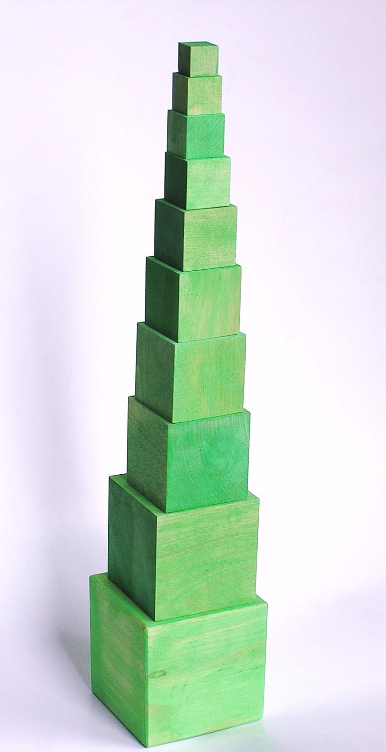 The Green Tower- A Montessori Inspired Educational Wood Toy- Building- Math