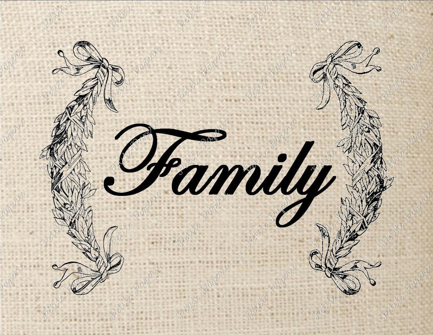 Digital Download Iron on Transfer Family Sign in Laurel Leaves