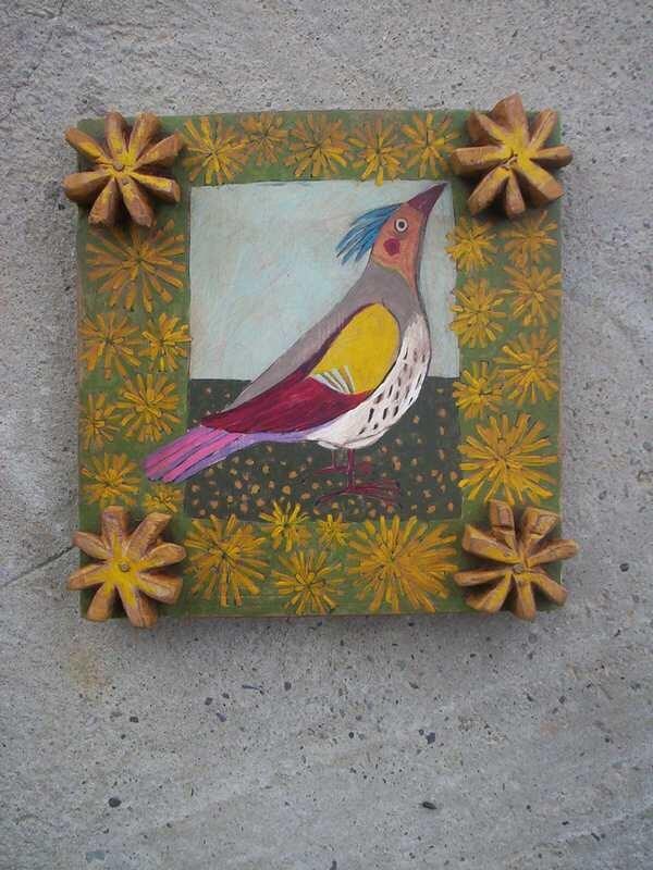 Bird On Yellow Flowers - Rustic Original Painting On Wood Acrylic Painting Art - Popielnik
