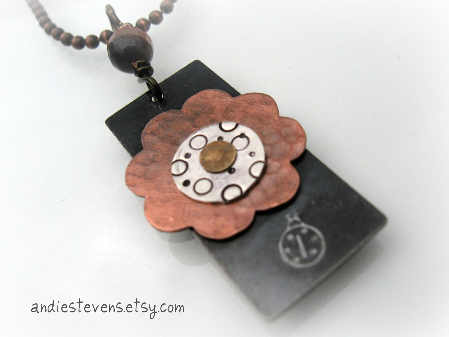 Riveted Flower Pendant in Copper and Sterling Silver - andiestevensdesigns