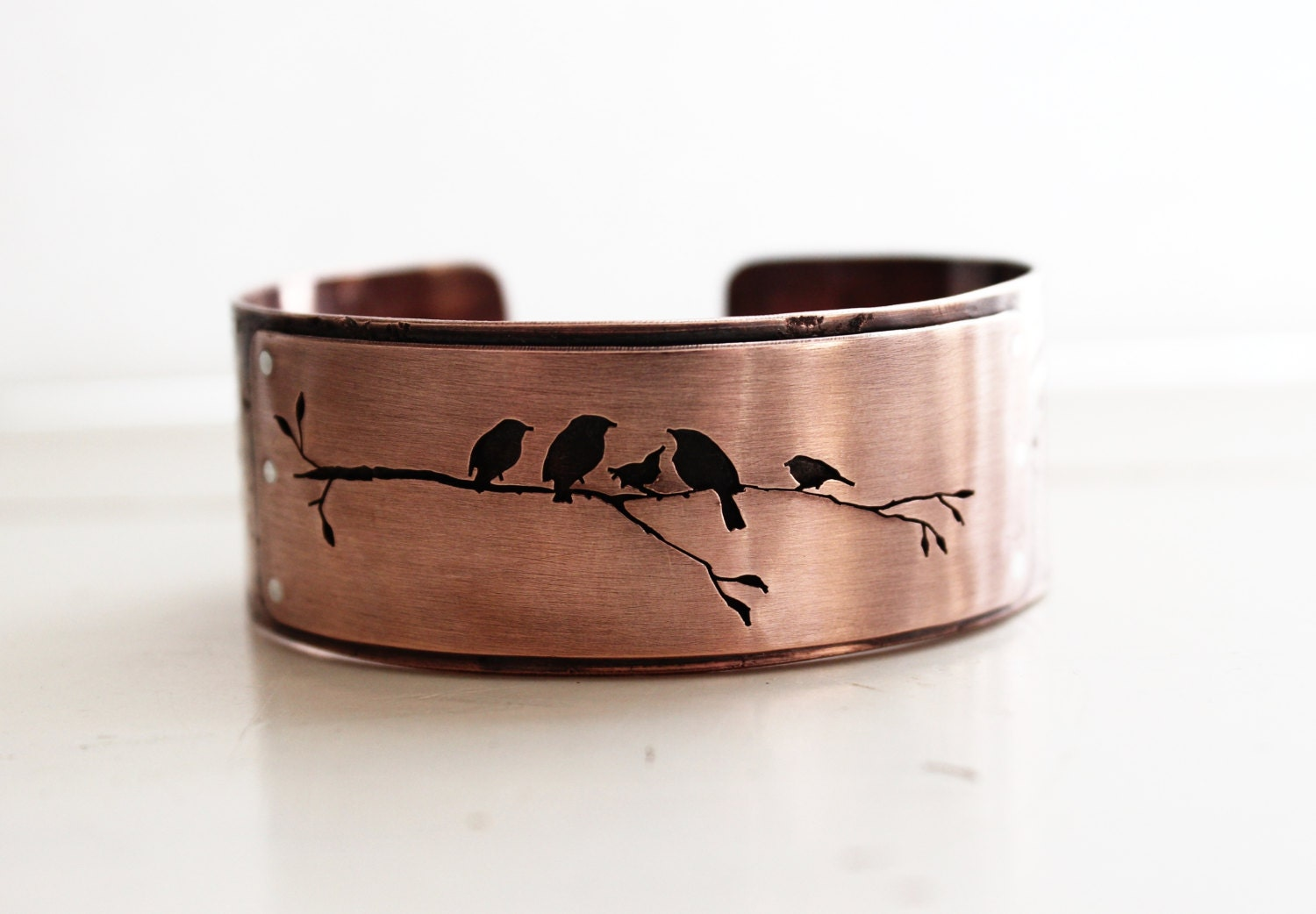 Copper bird cuff bracelet, handmade nature silhouette cuff, hand pierced. - justplainsimple