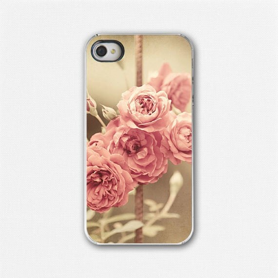 Rose iPhone 4 Case, iPhone 4s Cover, Pink Roses, Vintage Roses, Floral, Shabby Chic, Flowers, Sepia, Pink. For her. - LisaRussoFineArt