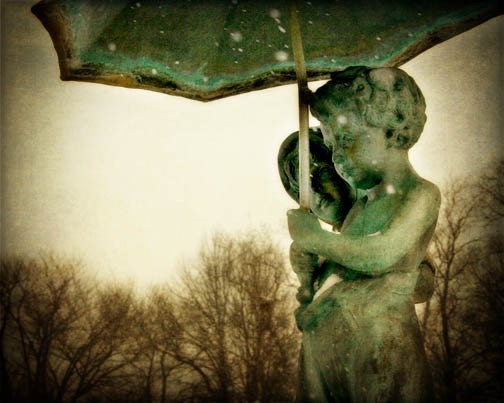 Park Statue Photograph children boy girl green umbrella sepia home decor haunting - FirstLightPhoto
