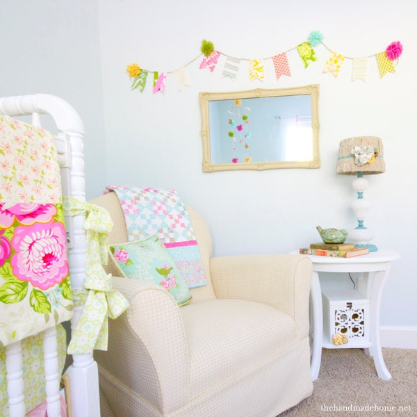 Sweet Birdie Ruffles Custom Crib Bedding Set