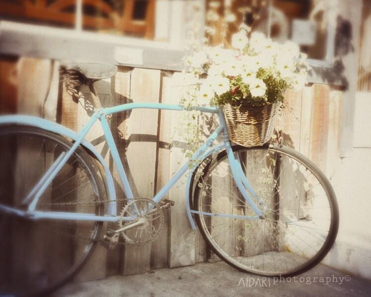 Blue Vintage Bike Vintage Fine Art Photography - AldariArt