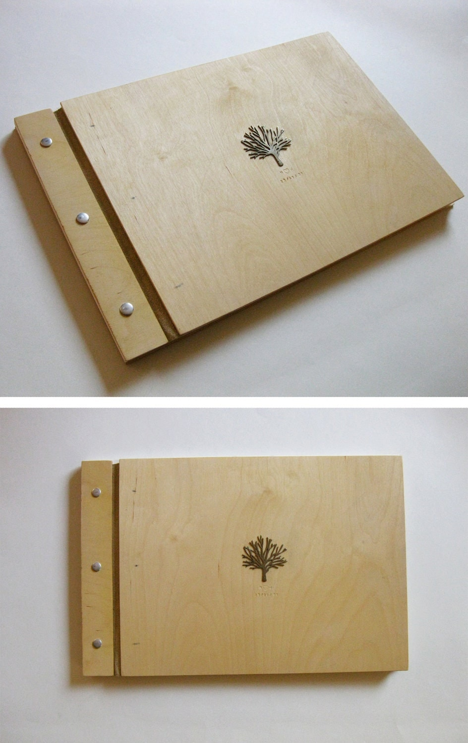 Wood Wedding Album - 9 x 12 - white brass tree or woodburned monogram - eco wedding custom gift - BlisscraftandBrazen