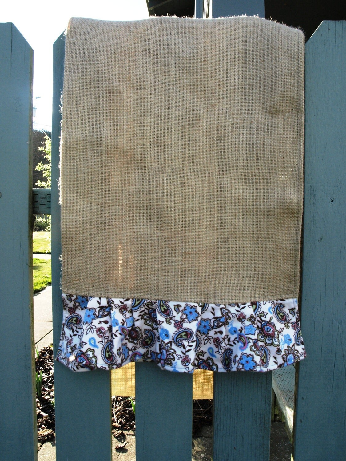Paisley Ruffled Burlap Table Runner
