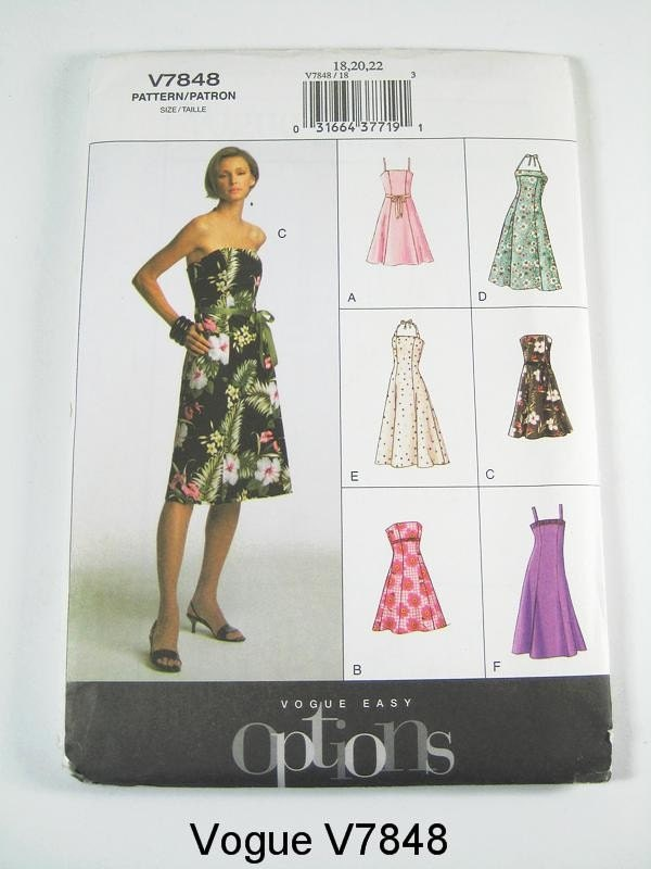 Vogue Pattern V7848 - Misses' Dress in 6 Variations- Vogue Easy Options - SZ 18/20/22