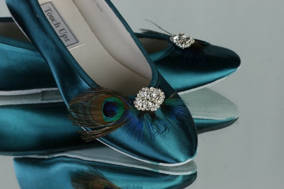 Womens Satin Ballet Bridal Slippers Peacock Teal Shoes