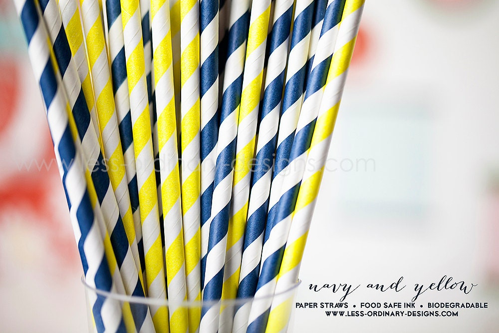 50 navy blue and yellow paper straws, striped blue and gold straws for parties and events, free printable flags - saralukecreative