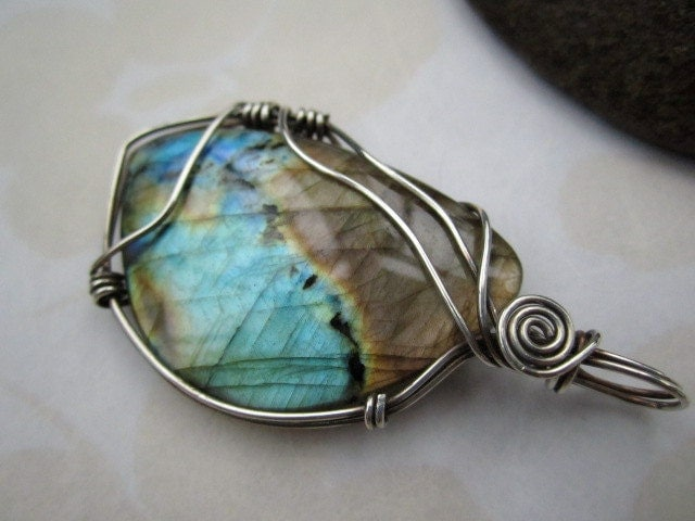 Sterling Silver Wrapped Labradorite Pendant - MyWiredHeart