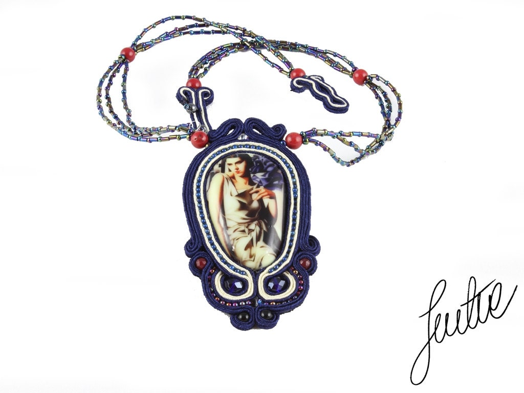 Unique, soutache necklace with reproduction of the painting Tamara Lempicka- ArtDeco, ink - JustineWorld