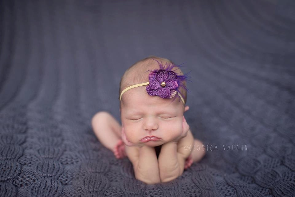Purple & Gold Hydrangea Flower and Feather Headband - baby, girl, photography props, newborns, infant, hair accessories, violet