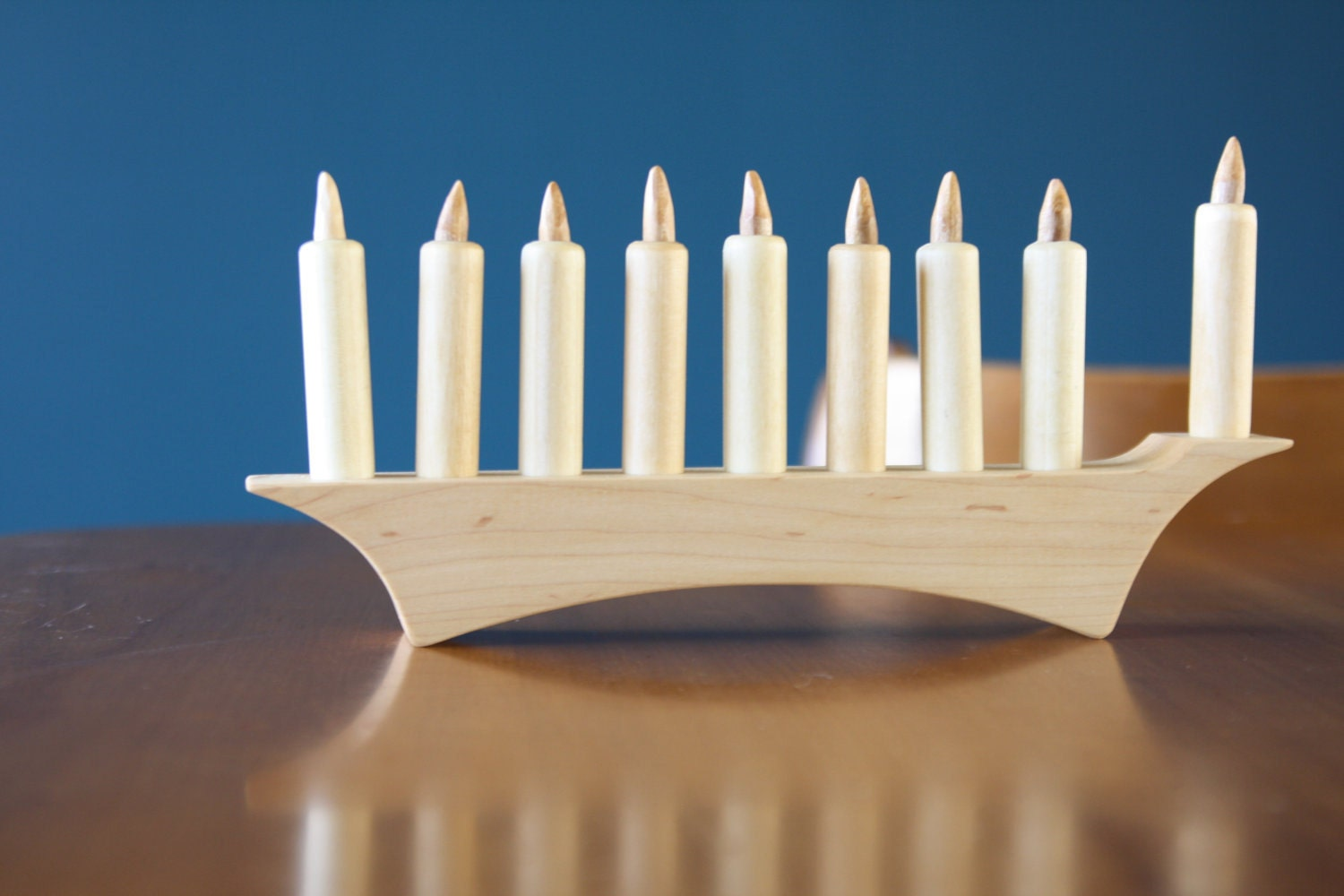 Modern Style Hanukkah Menorah in Wood The Family Heirloom by Little Alouette 10 piece set