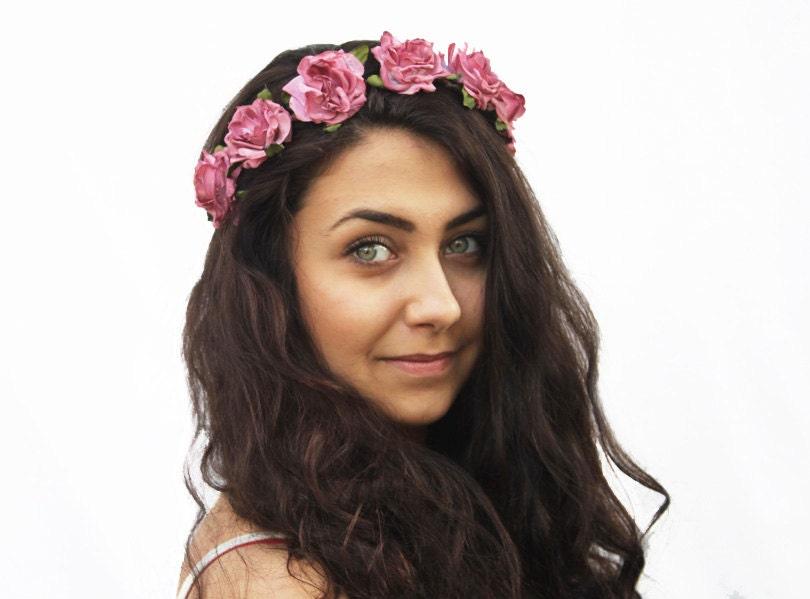 Vintage Pink Rose Crown - Woman Hair Accessory,  Floral Crown, Rose Headband, Hippie Flower Headband, Summer Accessory, Floral - BloomDesignStudio