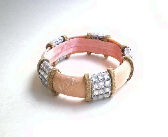 Western Chic up cycled pale peach bangle, suede, faux rhinestone - BoudicaBags