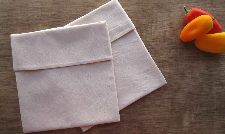 Reusable Eco Friendly Snack Sandwich Bag -- Organic Unbleached Muslin