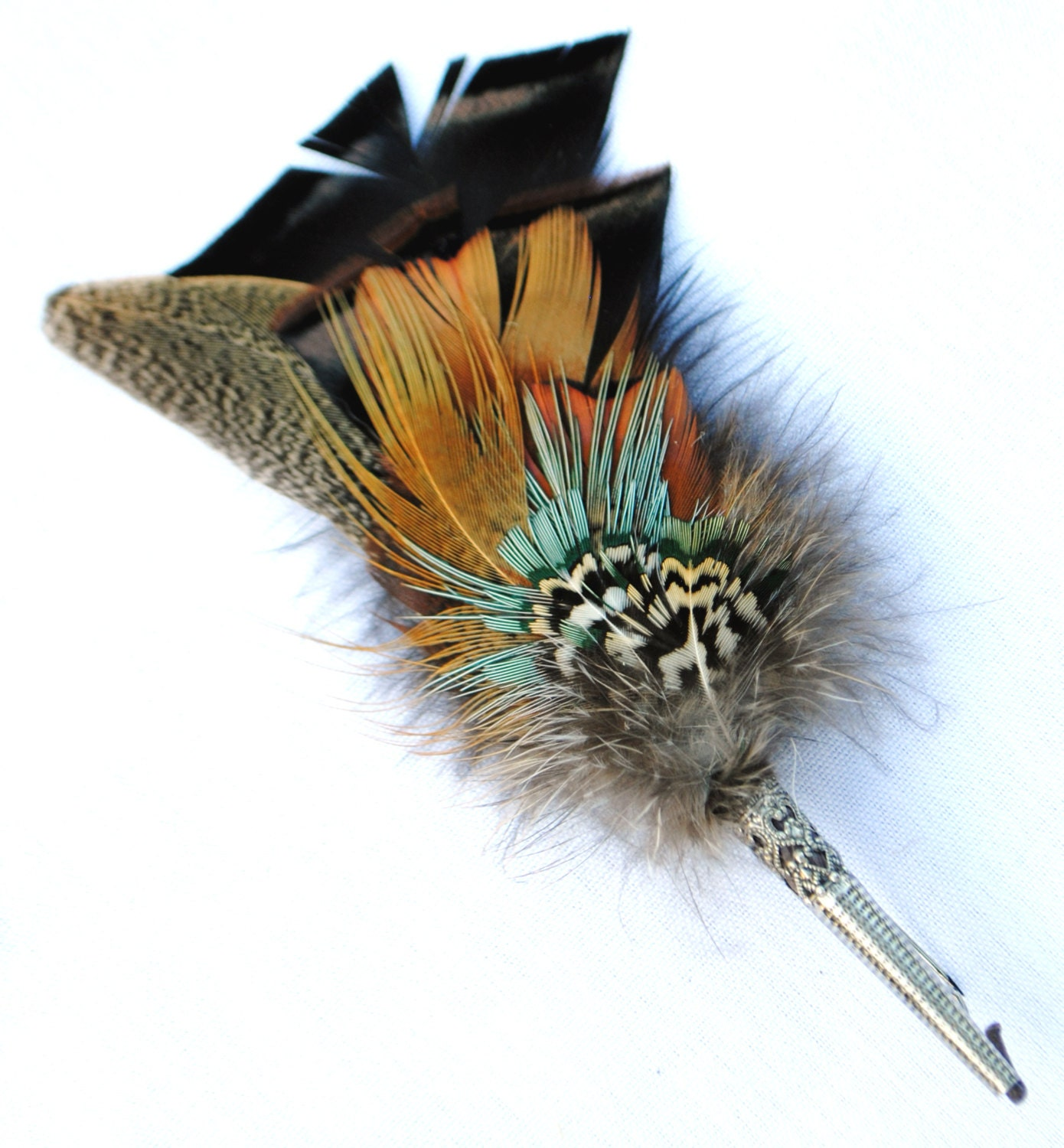 Traditional European Hunting Hat Feather Pin