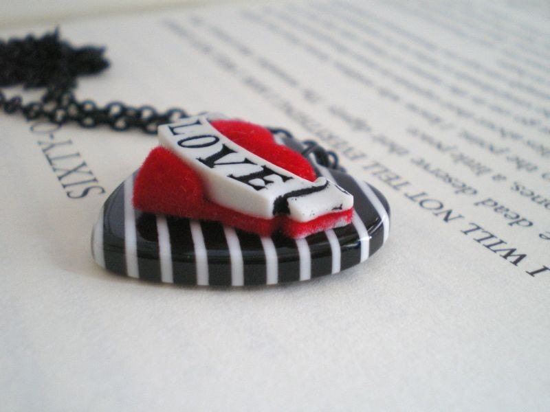 Tattoo Inspired Necklace. Love heart. Black and White. Retro Style.