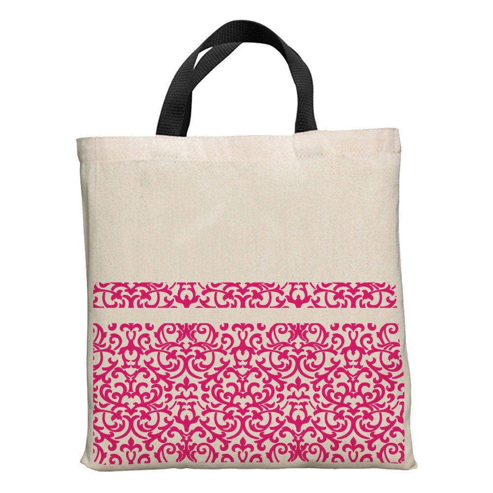 "Fuschia/Purple Pattern: 15"" Cotton Tote with Black Handles"