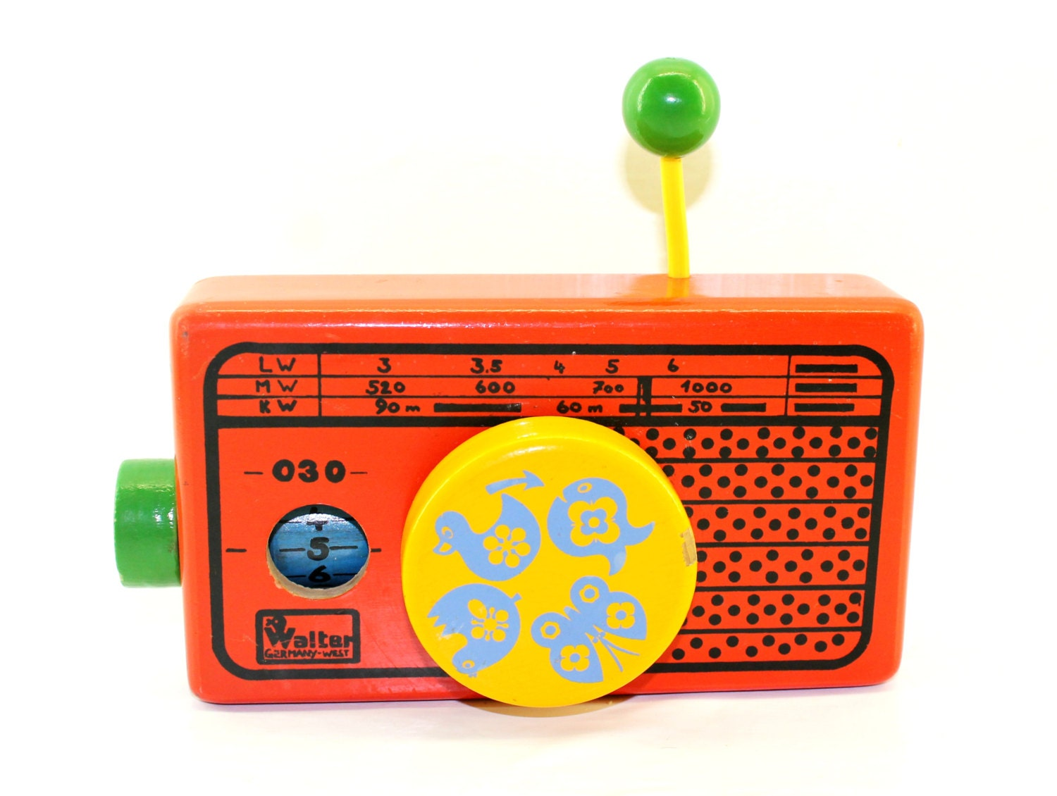 Walter West Germany Toy Radio - Wooden Musical Wind Up Radio - Rock-A-Bye Baby - HobartCollectables