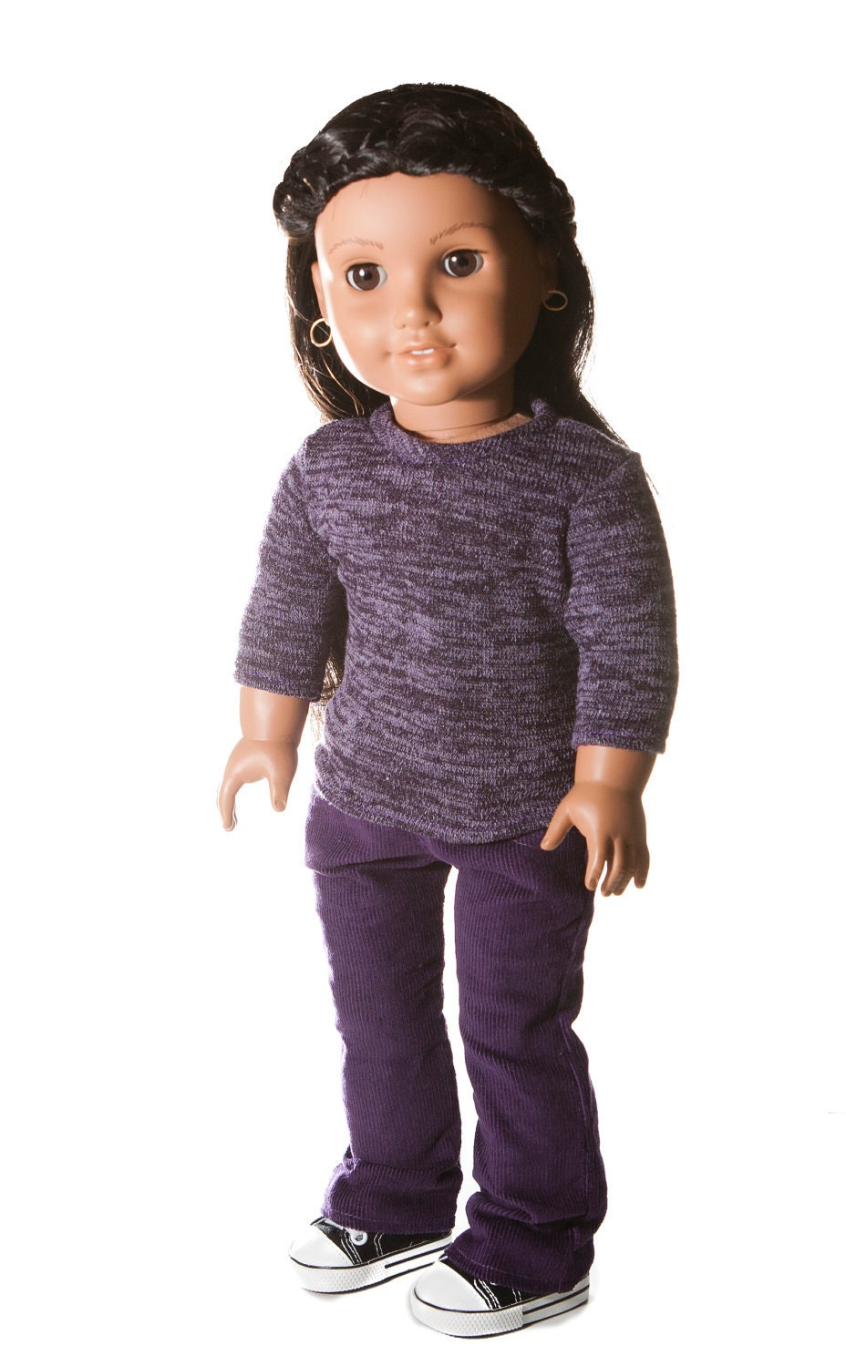 American Girl Doll Outfit -- Purple Knit Top with Purple Corduroy Jeans