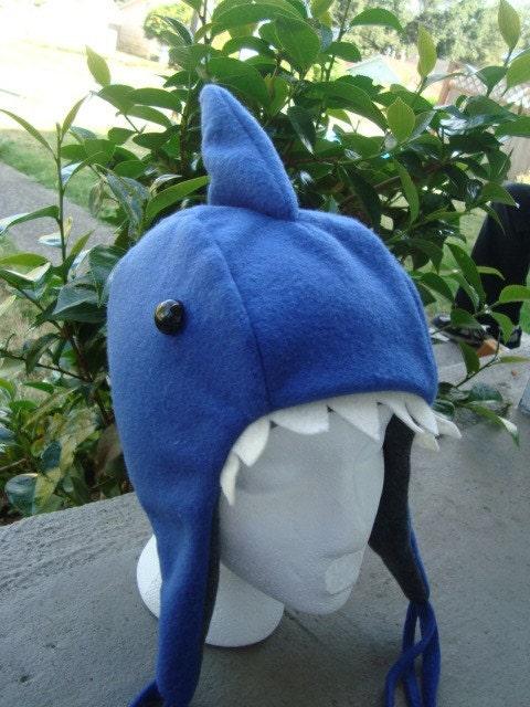 Shark Hat fleece earflap animal hat handmade in USA - MoonStoneDesigns